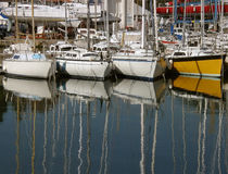 Reflection of masts Royalty Free Stock Photos