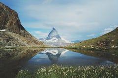 The reflection of Matterhorn stock photography