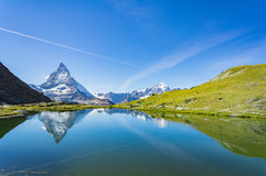 Reflection of Matterhorn in lake, Switzerland Stock Photography