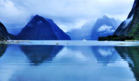 Reflection of Milford Sound Stock Photos