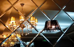 Reflection mirror chandelier Stock Photography
