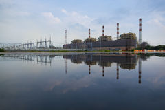 Reflection or mirror image of Thermal power plant. In thailand Royalty Free Stock Photos