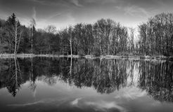 Reflection mirror lake,Vitosha mountain,Bulgaria. Reflection mirror lake,black and white landscape,Vitosha mountain,Bulgaria Royalty Free Stock Photo