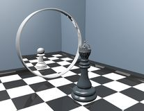Reflection in mirror, low self-esteem inferiority complex idea. Chess king and chess pawn reflection in mirror, low self-esteem inferiority complex idea 3D Royalty Free Stock Photos