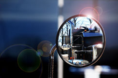Reflection in the mirror shiny trucks Royalty Free Stock Photography