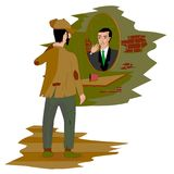 Reflection in the mirror a successful person vector illustration