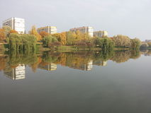 Reflection. Mirror water trees autumn fall river Royalty Free Stock Photo