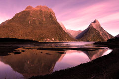 Reflection of Mitre Peak Stock Images