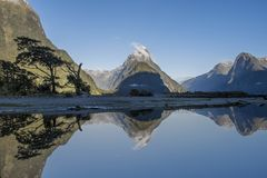 Reflection at Milford Sound, Mitre Peak. Reflection of Mitre Peak in Milford Sound, New Zealand royalty free stock photography