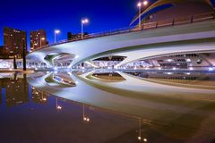 Reflection of a modern bridge Royalty Free Stock Photos