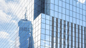 Reflection in modern office building windows. Royalty Free Stock Photo