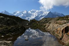 Reflection of Mont Blanc royalty free stock image