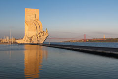 Reflection of Monument to the Discoveries in Lisbon Stock Photos