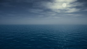 Reflection of the moon and twinkling stars on ocean. Animation of the moon and stars on open sea - UHD 3840x2160. 3D Rendering stock video footage