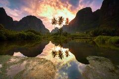 Reflection. Morning in Rammang-rammang village Stock Image