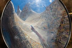 Reflection of the mosaics in Park Güell, Barcelona, Spain stock photography