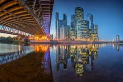 Reflection of Moscow City in the night royalty free stock photos
