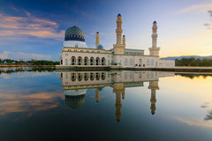 Reflection of a mosque at sunrise in Sabah, Borneo Royalty Free Stock Image
