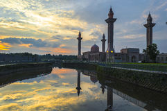 Reflection of mosque and sunset Royalty Free Stock Image