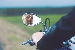 Reflection of Motorcycle Driver Royalty Free Stock Images