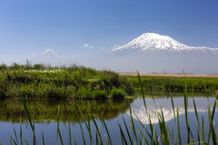 Reflection of the Mount of Ararat: view from village of Ranchpar. View of mount Ararat from Ranchpar village with green meadow near blue river Sev Djur(Black Royalty Free Stock Photography