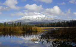 Reflection of Mount Bachelor In Hosmer Lake Autumn royalty free stock image