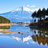 Reflection Mount Fuji-2. Mount Fuji is the highest mountain in Japan at 3,776.24 m royalty free stock photos