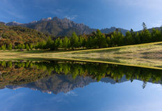 Reflection of Mount Kinabalu at Sabah, East Malaysia, Borneo Royalty Free Stock Photography