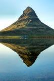 Reflection of Mount Kirkjufell stock photos
