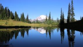 Reflection of Mount Rainier stock video