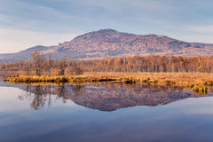 Reflection of mountain in blue water Royalty Free Stock Images
