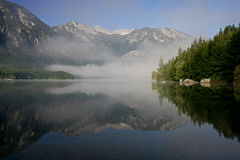 Reflection the mountain in lake Bohinjsko Jezero Royalty Free Stock Photos