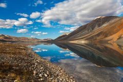 Reflection in mountain lake, Chukotka, Russia Royalty Free Stock Photo