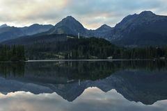 Reflection mountain in lake. View from Strbske pleso in the High Tatras stock photos