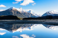 Reflection of mountain in New Zealand. South alpine Royalty Free Stock Photos