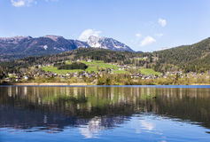 Reflection of mountain village in Hallstatter See, Austria, Euro stock photos