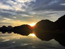 Reflection. The mountains of the lake, reflecting the beauty of the sunset Stock Photography