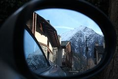 Reflection of mountains. Look at the mountains in the rearview mirror Royalty Free Stock Image