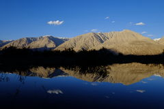 Reflection of Mountains. This picture was taken somewhere during my journey to Nubra Valley, Ladah India....There were lots of mountains here...it was one of the stock images