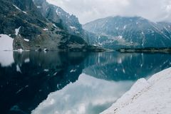Reflection of mountains in water of Czarny Staw pond, Tatra Mountains, Poland. Reflection of mountains in water of Czarny Staw pond, Tatra Mountains stock image