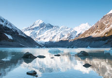 Reflection of mt Cook in Lake. Aoraki National Park, New Zealand stock photography