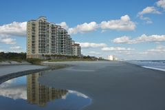 Reflection on Myrtle Beach. Myrtle Beach in South Carolina is one of the major centers of tourism in the United States because of the city's warm subtropical stock photos