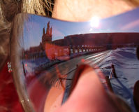 Reflection of Nadym the girl in glasses. The girl's face with gl Stock Images