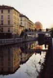 Reflection on the Naviglio Pavense in Milan Stock Photo