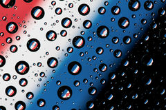Reflection of Netherlands flag. On water droplet Stock Photo