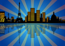 Reflection of New York City Skyline at Night Stock Image