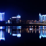 Reflection of a night city in water. Minsk. Royalty Free Stock Photo
