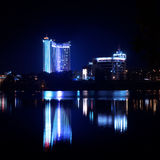 Reflection of a night city in water. Minsk. Royalty Free Stock Image