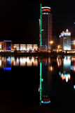 Reflection of a night city in water. Minsk. Royalty Free Stock Images
