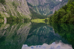 Reflection Obersee mountain lake in Alps. Bavaria Royalty Free Stock Photos